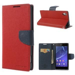 Fancy Peňaženkové puzdro pre Sony Xperia Z2 - červené - 1