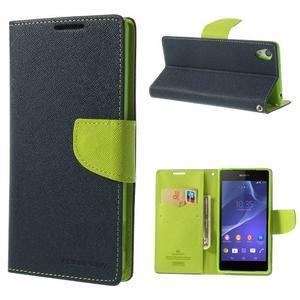 Fancy Peňaženkové puzdro pre Sony Xperia Z2 - tmavomodré - 1