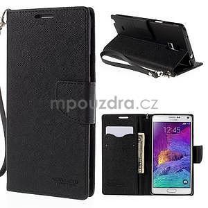 Stylové peňaženkové puzdro na Samsnug Galaxy Note 4 - čierne - 1