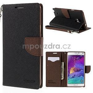 Stylové peňaženkové puzdro na Samsnug Galaxy Note 4 - čierne/hnedé - 1