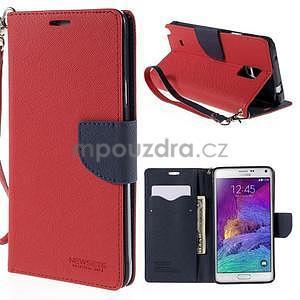 Štýlové peňaženkové puzdro pre Samsnug Galaxy Note 4 - červené - 1