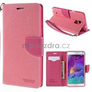 Stylové peňaženkové puzdro na Samsnug Galaxy Note 4 -  ružové - 1