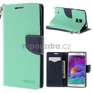 Štýlové peňaženkové puzdro pre Samsnug Galaxy Note 4 -  azúrové - 1