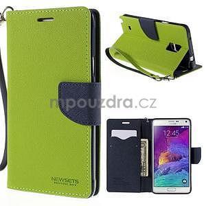 Štýlové peňaženkové puzdro pre Samsnug Galaxy Note 4 -  zelené - 1