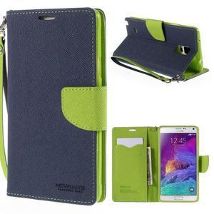 Stylové peňaženkové puzdro na Samsnug Galaxy Note 4 -  tmavomodre - 1