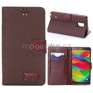 Elegantné peňaženkové puzdro na Samsung Galaxy Note 4 - hnedé - 1
