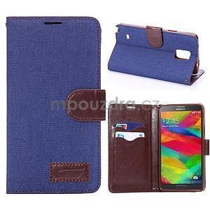 Jeans peňaženkové puzdro pre Samsung Galaxy Note 4 - modré - 1