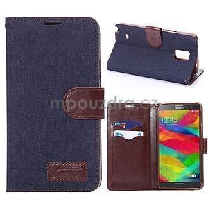 Jeans peňaženkové puzdro pre Samsung Galaxy Note 4 - tmavo modré - 1