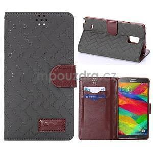 Elegantné peňaženkové puzdro na Samsung Galaxy Note 4 - šedé - 1