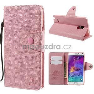 Zapínací peneženkové poudzro Samsung Galaxy Note 4 - ružové - 1