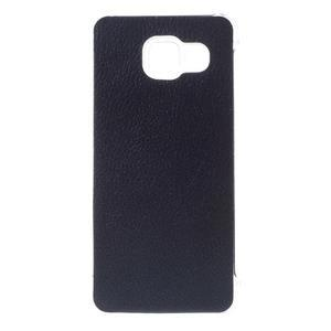 Plastový obal s koženkovým plátem na Samsung Galaxy A3 (2016) - tmavěmodrý - 1