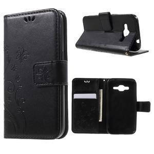 Butterfly PU kožené puzdro pre Samsung Galaxy Core Prime - čierne - 1