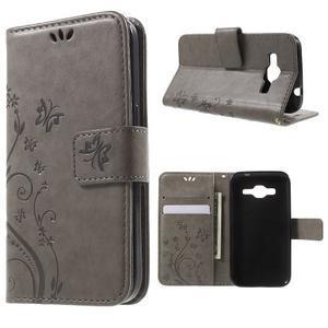 Butterfly PU kožené puzdro pre Samsung Galaxy Core Prime - šedé - 1