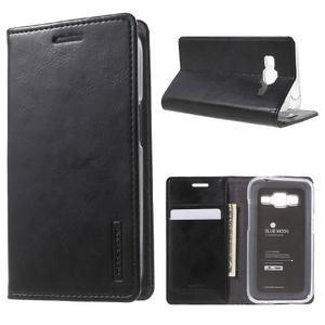 Moon PU kožené puzdro pre mobil Samsung Galaxy Core Prime - čierne - 1