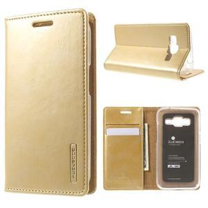 Moon PU kožené puzdro pre mobil Samsung Galaxy Core Prime - zlaté - 1