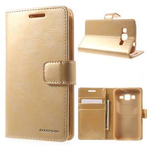 Moonleather PU kožené puzdro pre Samsung Galaxy Core Prime - zlaté - 1