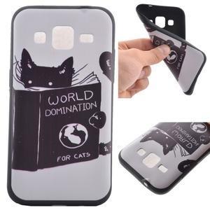 Hardy gélový obal pre mobil Samsung Galaxy Core Prime - mačička čte - 1