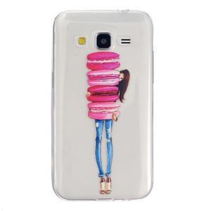 Transparentní gelový obal na Samsung Galaxy Core Prime - makrónky - 1