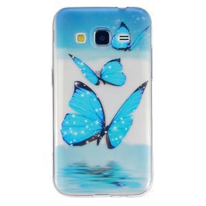 Transparentný gélový obal pre Samsung Galaxy Core Prime - modré motýle - 1