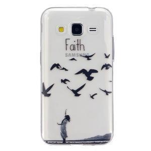 Transparentní gelový obal na Samsung Galaxy Core Prime - ptáčci - 1