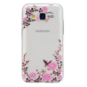 Transparentný gélový obal pre Samsung Galaxy Core Prime - kvety - 1