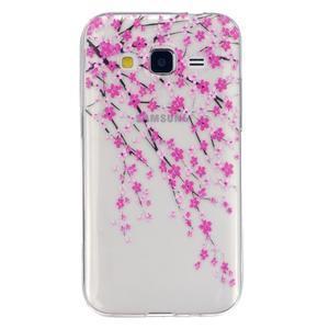 Transparentný gélový obal pre Samsung Galaxy Core Prime - kvitnúca slivka - 1