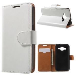 Horse PU kožené puzdro pre mobil Samsung Galaxy Core Prime - biele - 1