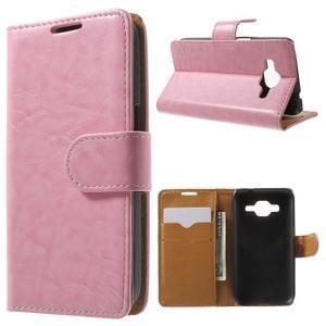 Horse PU kožené puzdro pre mobil Samsung Galaxy Core Prime - ružové - 1