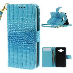 Croco peňaženkové puzdro pre Samsung Galaxy Core Prime - modré - 1