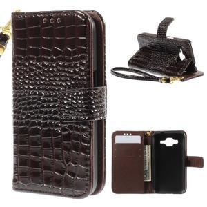 Croco peňaženkové puzdro pre Samsung Galaxy Core Prime - coffee - 1