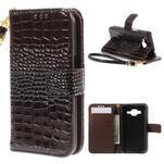 Croco peňaženkové puzdro pre Samsung Galaxy Core Prime - coffee - 1/7