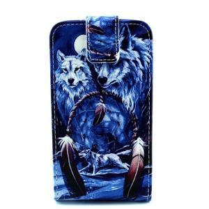 Flipové puzdro pre mobil Samsung Galaxy Core Prime - magický vlci - 1