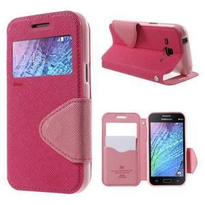 Kožené puzdro s okienkom Samsung Galaxy J1 - rose/ružové - 1