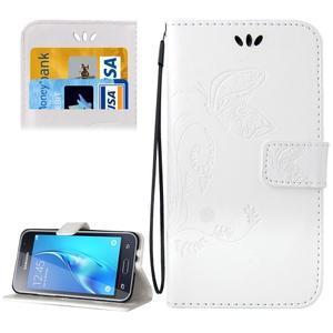 Magicfly PU kožené puzdro pre mobil Samsung Galaxy J1 (2016) - biele - 1