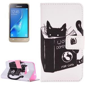 Emotive koženkové puzdro pre Samsung Galaxy J1 (2016) - mačka - 1