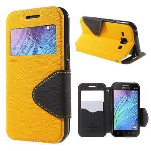 Kožené puzdro s okienkom Samsung Galaxy J1 - žlté/čierné - 1