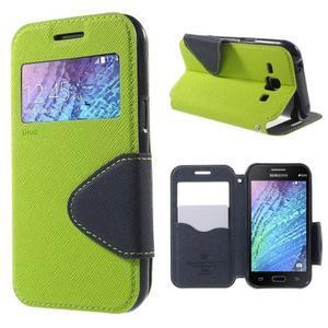 Kožené puzdro s okienkom Samsung Galaxy J1 - zelené/tmavo modré - 1
