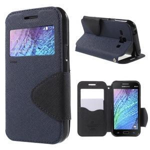 Kožené puzdro s okýnkem Samsung Galaxy J1 - tmavě modré/čierné - 1