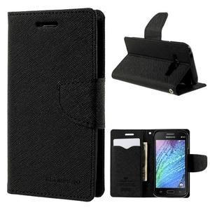 Čierné kožené puzdro pre Samsung Galaxy J1 - 1