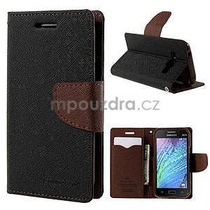 Čierné/hnedé kožené puzdro pre Samsung Galaxy J1 - 1