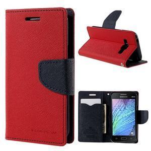 Červené/tmavě modré kožené puzdro na Samsung Galaxy J1 - 1