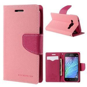 Růžové/rose kožené puzdro na Samsung Galaxy J1 - 1