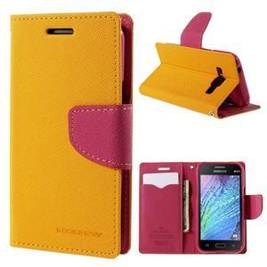 Žluté/rose kožené puzdro na Samsung Galaxy J1 - 1