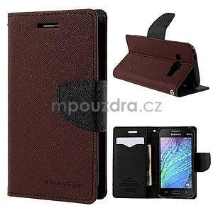 Hnedé/čierné kožené puzdro pre Samsung Galaxy J1 - 1