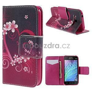 Zapínací puzdro pre Samsung Galaxy J1 - kvetinové srdca - 1