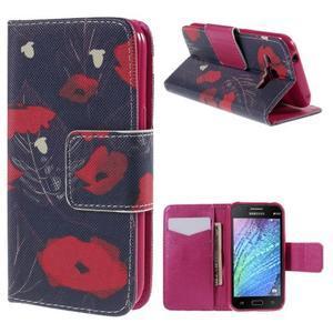 Zapínací puzdro pre Samsung Galaxy J1 - červená květina - 1