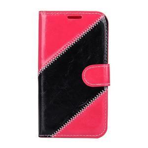 Peňaženkové puzdro Diagonal na Samsung Galaxy J1 - rose/čierné - 1