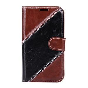 Peňaženkové puzdro Diagonal pre Samsung Galaxy J1 - hnedé/čierné - 1
