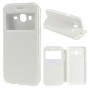 Peňaženkové PU kožené puzdro s okienkom pre Samsung Galaxy J3 (2016) - biele - 1