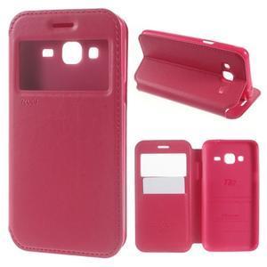 Peňaženkové PU kožené puzdro s okienkom pre Samsung Galaxy J3 (2016) - rose - 1